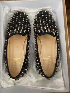 Christian Louboutin Rolling Spikes Flat Black Loafer Sz 37