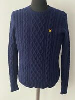LYLE & SCOTT Vintage Cable Knit Navy Sweater 100% Lambs Wool Size M