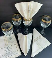 "Wine Glasses 4 Ten-Oz w/Wide Gold Band 7"" +Bonus SilverGold-Thread Napkins India"