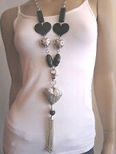 Modekette lang Damen Hals Kette Modeschmuck Lagenlook Silber Schwarz Herz A774