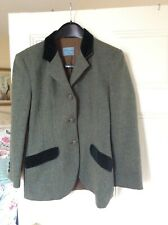 Blumaine Folies Vintage Green Tweed Hacking Jacket with Velvet Accents Size 42