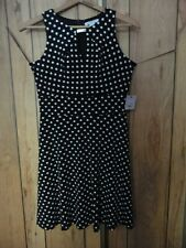 Liz Claiborne Black & White polka dots dress size 10