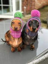 The Pom Pom Dog Hat snood. XS Minature Chihuahua Yorkie Daschund. Many Colours