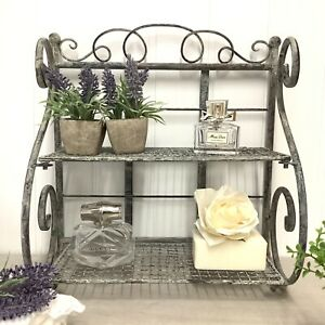 Shabby Chic Vintage Style Grey Metal Shelf Unit Storage Display Bathroom Cabinet