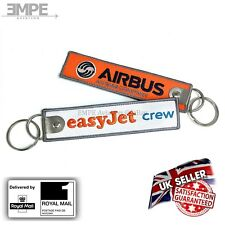 **New** easyJet crew tag bag label keychain ring airbus pilot embroidered