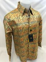 Mens MANZINI Button Down Dress Shirt MULTI COLOR PAISLEY FRENCH CUFF MEDIUM 7