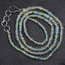 """Natural Ethiopian Welo Opal Plain Rondelle Beads Necklace Lock 20.30 Cts 17.5"""""""