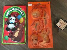 COOKIE CUTTERS Lone Toy Tree bears Amscan Halloween Wilton Flowers plastic metal