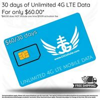 UNLIMITED 4G LTE DATA FOR TABLETS AND HOTSPOTS - AT&T NETWORK - 30 DAYS FOR $60!
