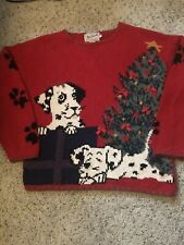 Vtg Woolrich Sweater Puppy Dog Dalmation Ugly Christmas Tree Holiday Sz L