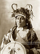 Large Vintage PHOTO Reprint Native American Indian CHIEF HE WETS IT Assiniboine