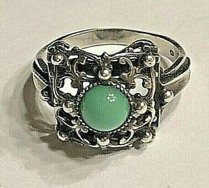 Antiker Silber Ring 800er mit grünen Stein