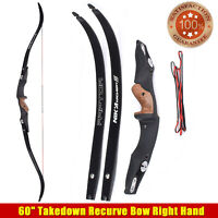 "60""Takedown Recurve Bow Right Hand ET-1+Raptor Limbs Shooting Practice Powerful"