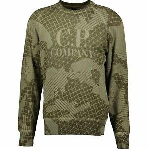 CP Company Olive Lasered Cotton Sweatshirt