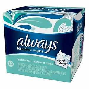 Always Wipes-to-Go 20 Count  Free Shipping!!   1-9 Count !!! Buy More & Save !!!