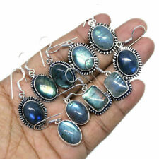 Flashy Labradorite 20 pair Wholesale Lots 925 Sterling Silver Plated Earring