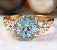 3.12CTW Natural Blue Aquamarine and DIAMOND in 14K Solid Yellow Gold Women Ring