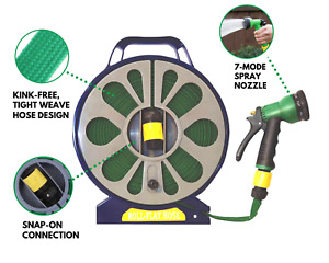 Flat 50ft Garden Hose Reel & Pipe Outdoor with Spray Nozzle Gun Plants Watering
