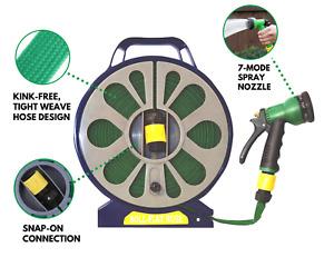 Flat 50ft Garden Hose Reel & Pipe Outdoor with Spray Nozzle Gun Plants Watering