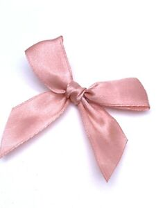 ROSE GOLD, PINK 6cm Pre Tied Satin Bows 20mm Wide Ribbon 6 or 12 Pack