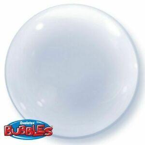 """QUALATEX 20""""/24"""" DECO BUBBLE BALLOON CLEAR QUALATEX HELIUM AIR BIRTHDAY PARTY"""