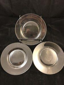 "Clear 7 1/2"" Round Salad / Luncheon Plates Uranium - SET of 3 WOW"
