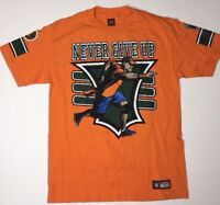 John Cena 15X YOU CAN'T SEE ME Never Give Up Orange WWE Authentic T-Shirt Medium