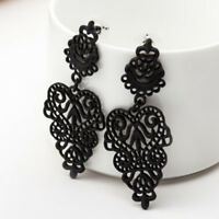 Women Fashion Long Drop Black Dangle Earrings Alloy Earrings Leaves