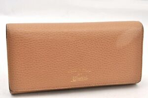 Authentic GUCCI Leather Long Wallet Beige 94058