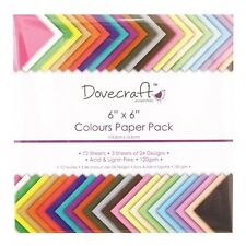 """6 x 6"""" DOVECRAFT SCRAPBOOKING CRAFT PAPER ASSORTED COLOURS DECORATION TRDCDP61"""