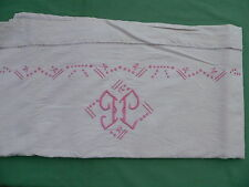 Drap écru brodé rose monogramme J G ancien 2 personnes 205 x 284 cm coton métis?