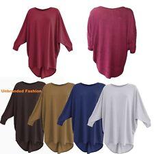 Ladies Women Plain Batwing Oversized Long Sleeve Baggy Sweater Jumper Top 8-26.