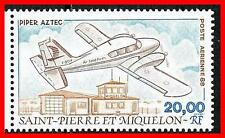 ST.PIERRE 1989 PIPER AZTEC PLANE SC#C65 MNH  AVIATION (DID YOU SEE 20.00Fr FV?)