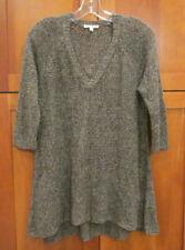 EILEEN FISHER Black Beige Loose Open Weave Linen 3/4 Sleeve High Low Tunic PM