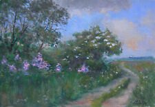 """L0601 Oil painting Canvas Board Signed Soviet Russian Landscape Small 7""""x11"""""""