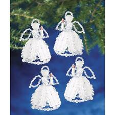 "Holiday Beaded Ornament Kit CAROLING ANGELS Christmas Ornaments 4"" Makes 4"