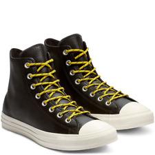 Converse Mens CTAS Hi Leather 163339C Black/Bold Citron/Egret Sizes 8 - 9 NWB
