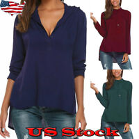 Women Plus Size V-neck Tops Loose Long Sleeve Fashion Shirt Ladies Casual Blouse