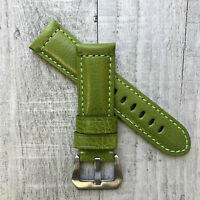 For Panerai PAM Luminor Marina 22/20mm 24/22mm Green Leather Watch Strap Band