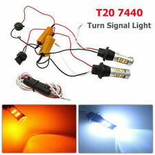 2X 7440 T20 Dual-Color Amber-White Switchback LED DRL Turn Signal Light Bulbs