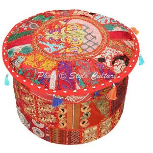 Ethnic Round Ottoman Pouffe Cover Red Patchwork Cotton 40 cm Embroidered Floral