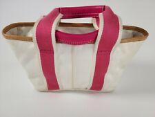 COACH MINI SMALL LEATHER TRIM white and pink, NYLON TOTE PURSE BAG A05K-1893