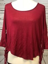 Rue 21 BoHo Shirt Blouse ties fringe Maroon Asymmetrical Top XS X-Small Tunic