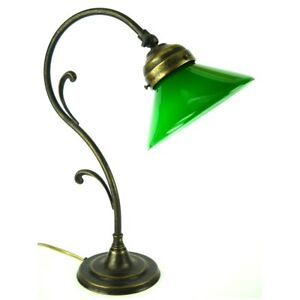 Table Lamp Office Desk Brass Glass, Green