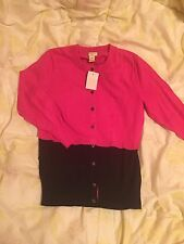 J Crew Women Pink & Black Sweater Cardigan Size: XS New With Tag