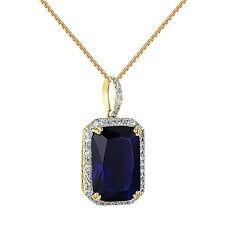 Mens Blue Sapphire Ruby Pendant Cubic Zirconia 14K Gold Tone 24 Inch Box Chain