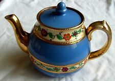 """VINTAGE WADE POTTERY TEAPOT BLUE WITH FLOWERS & GILT 5"""" X 7.5"""""""