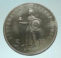 1962 SWEDEN King GUSTAV VI ADOLF Athena 5 Kronor Silver SWEDISH Coin  i76029