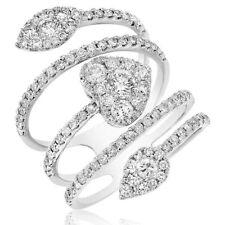 18K White Gold Pave Diamond Heart Round Wrap Bypass Wraparound Right Hand Ring