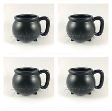 Set/4 Williams Sonoma Halloween Black Cauldron Mugs Witch Brew Coffee Serve NIB